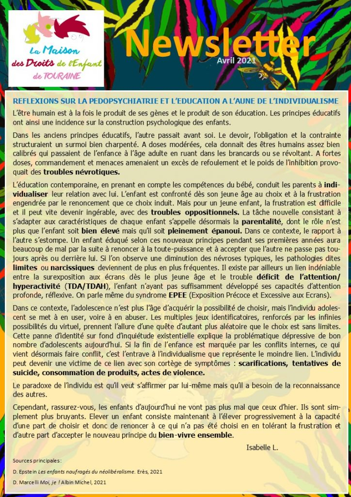 Newsletter de la Maison des Droits de l'Enfant de Touraine, avril 2021